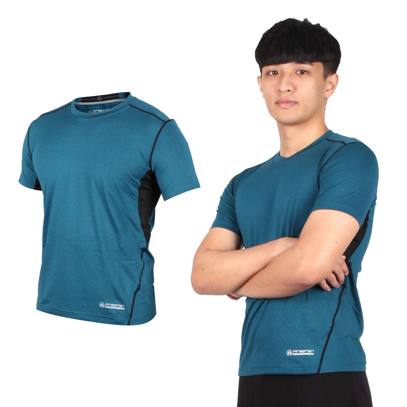 FIRESTAR 男款機能緊身短袖上衣 N7910-98 - 藍綠