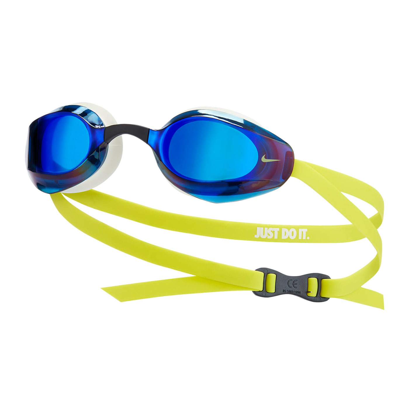 NIKE SWIM 成人專業型鏡面泳鏡 NESSA176-990 - 白藍黃