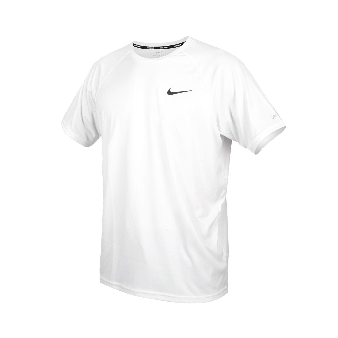 NIKE SWIM 男款短袖防曬T恤 NESSA586-100 - 白黑