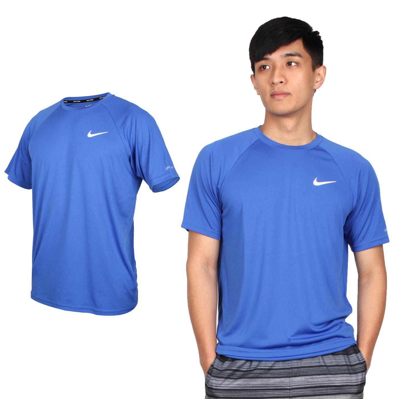 NIKE SWIM 男款短袖防曬T恤 NESSA586-494 - 藍白