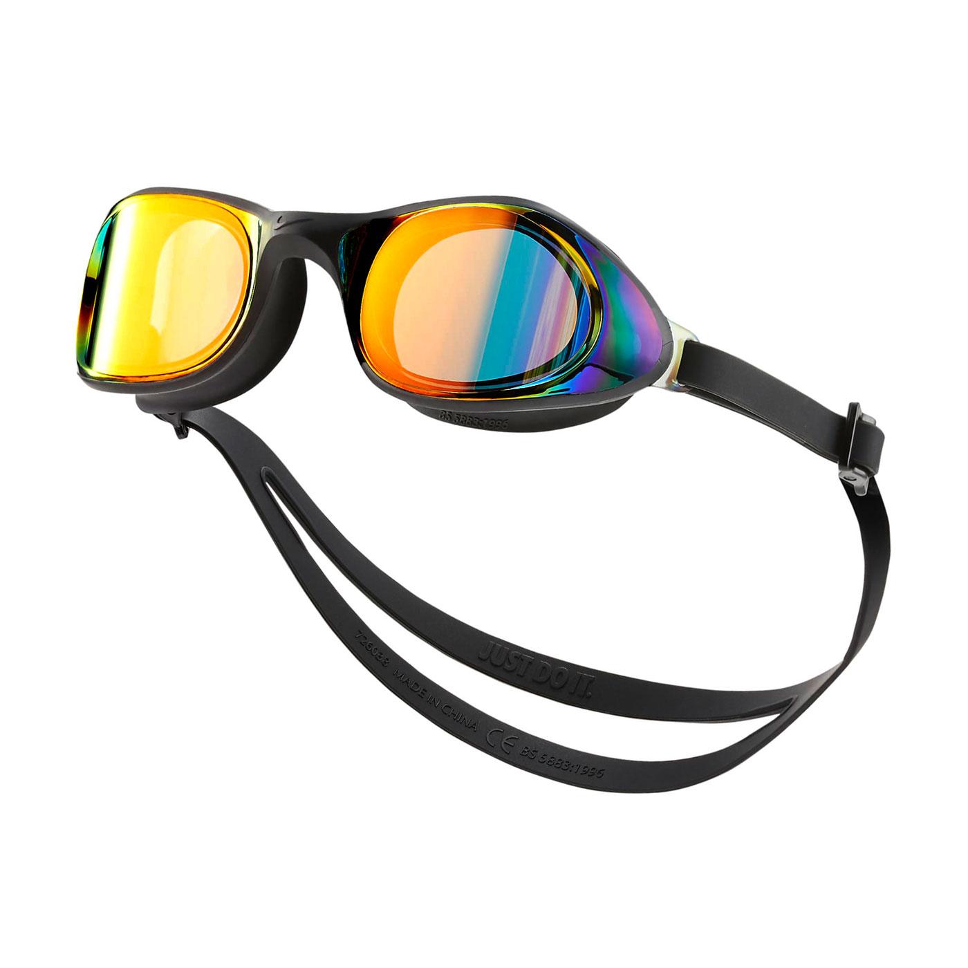NIKE SWIM 成人超廣角鏡面泳鏡 NESSB160-840 - 黑橘黃藍紫