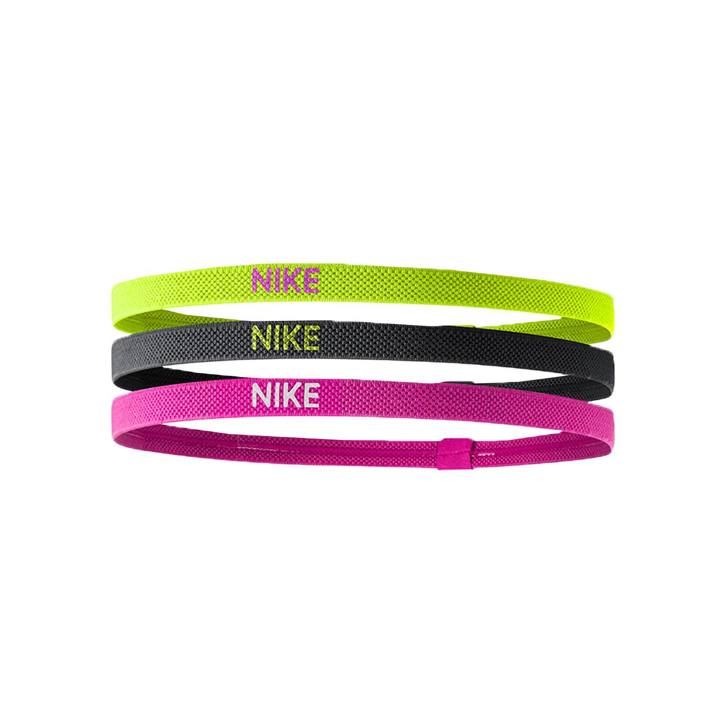 NIKE 彈性髮帶(3條入) NJN04983OS - 螢光黃黑粉