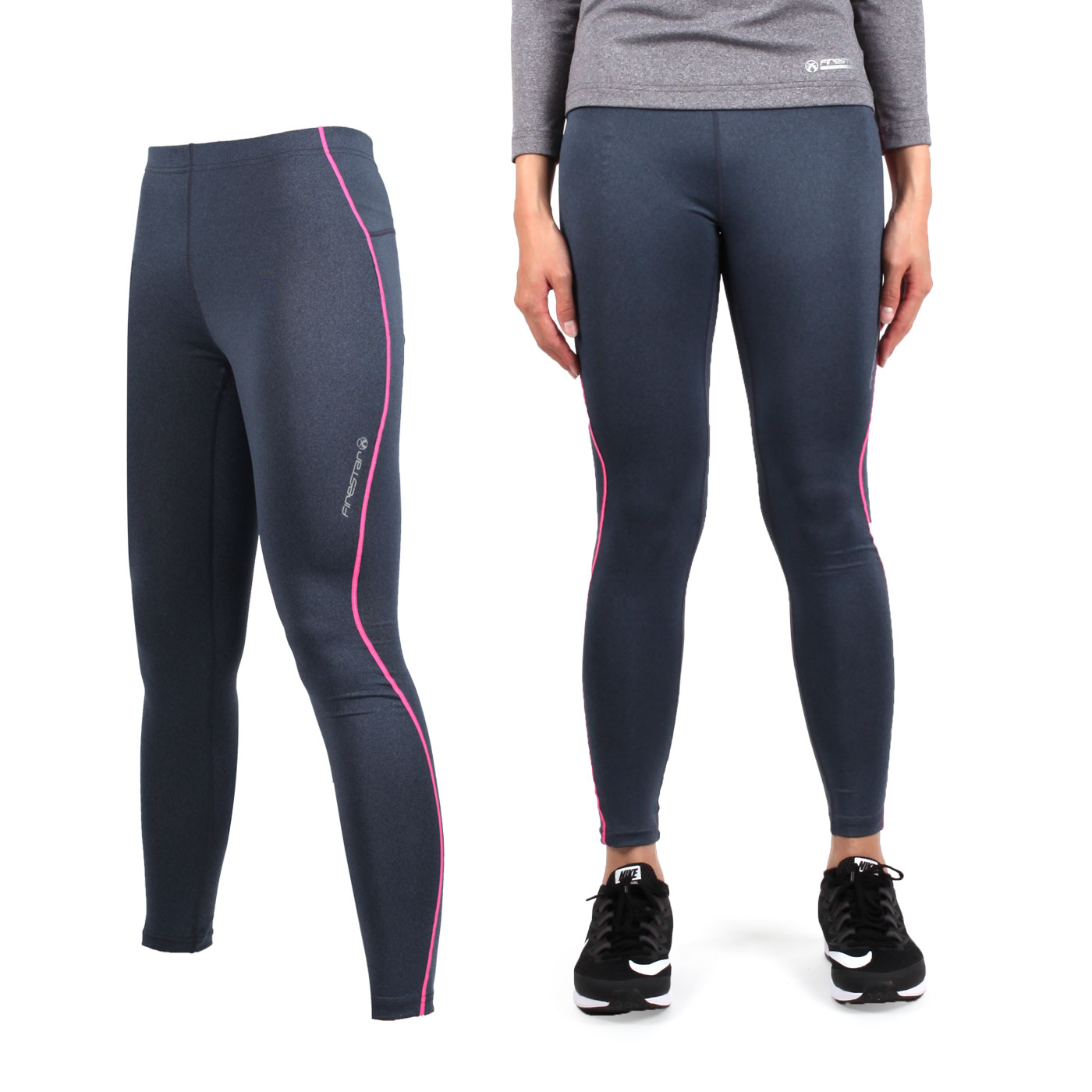 FIRESTAR 女款機能緊身長褲 NL707-18 - 深灰螢光粉