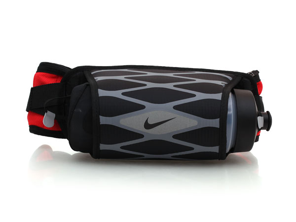 NIKE 慢跑後背型水壺腰包(附水壺) NRL28030OS - 黑紅