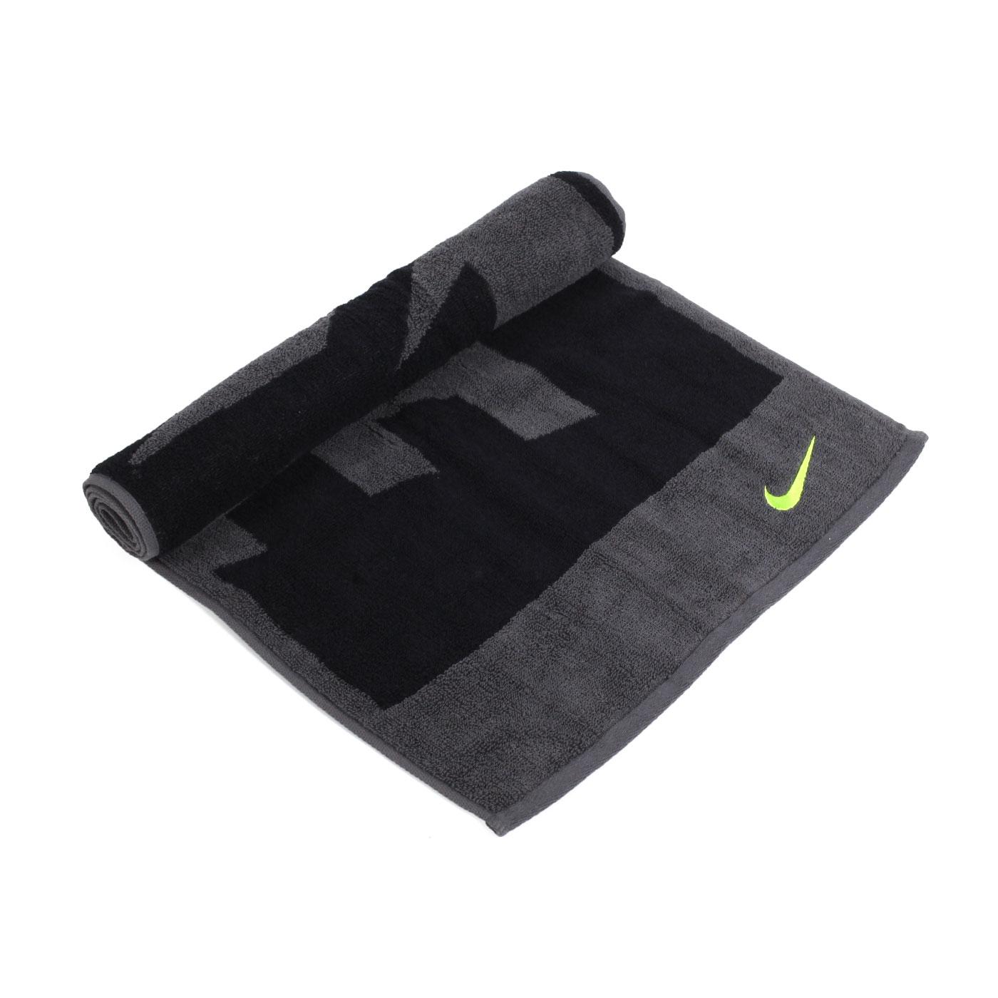 NIKE 日式盒裝毛巾 NTT81063MD - 黑灰螢光黃