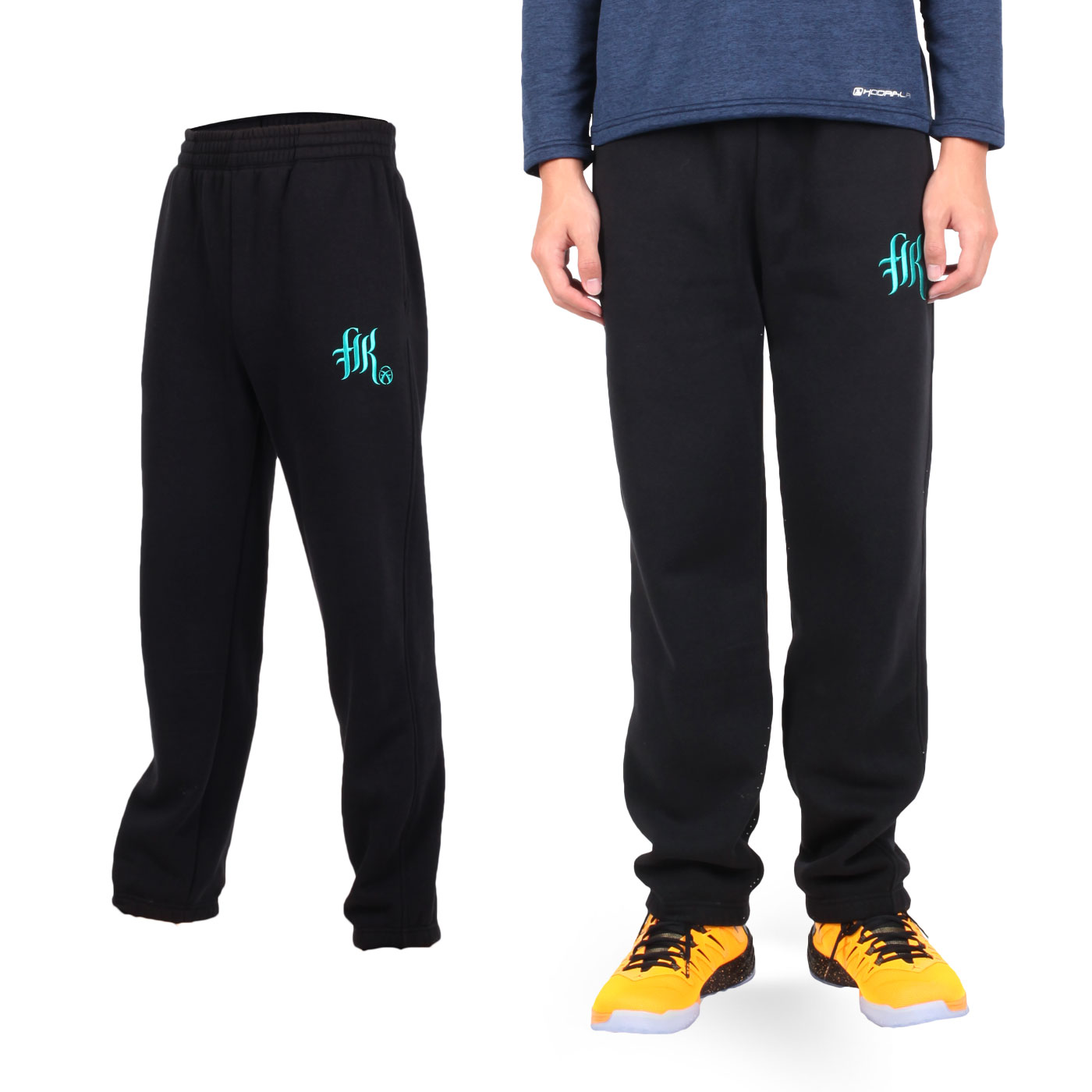 FIRESTAR 男款棉質內刷毛長褲 p5277-10 - 黑湖水綠
