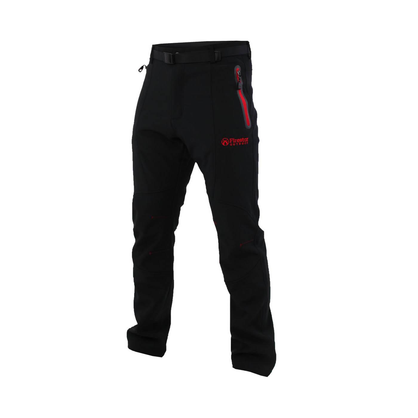 FIRESTAR 男款彈性平織磨毛裏長褲 P6573-40 - 黑紅