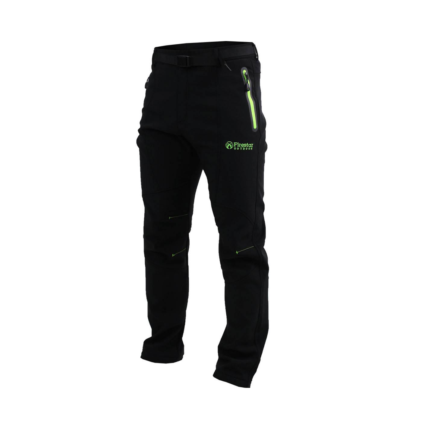 FIRESTAR 男款彈性平織磨毛裏長褲 P6573-40 - 黑螢光綠