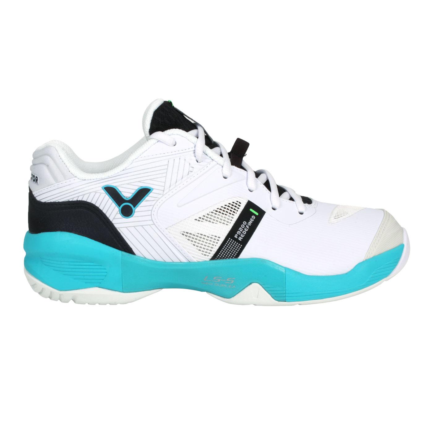 VICTOR 男款羽球鞋 P9200II-AU - 白黑藍綠