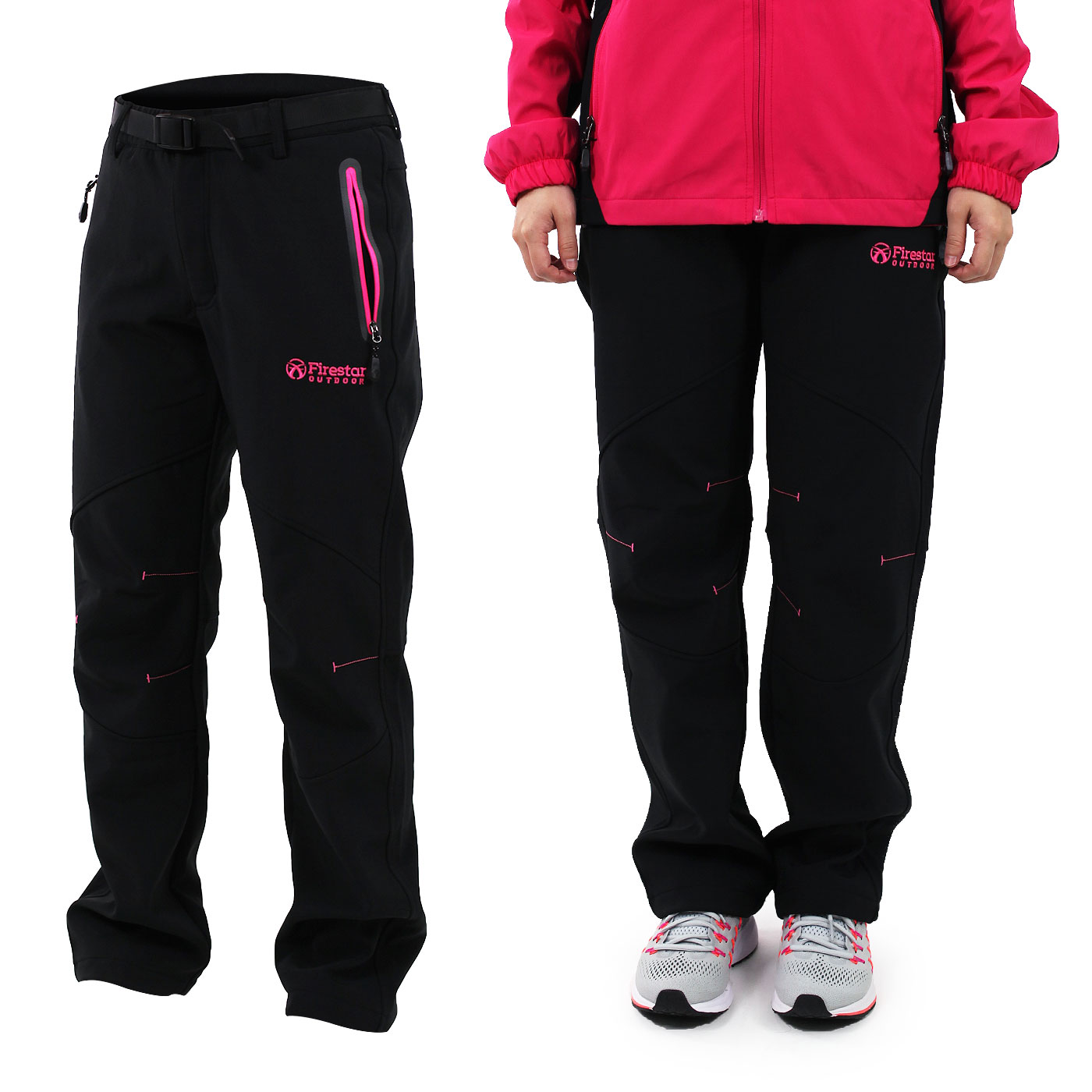 FIRESTAR 女款彈性平織磨毛內裏長褲   PL682-10 - 黑亮粉紅
