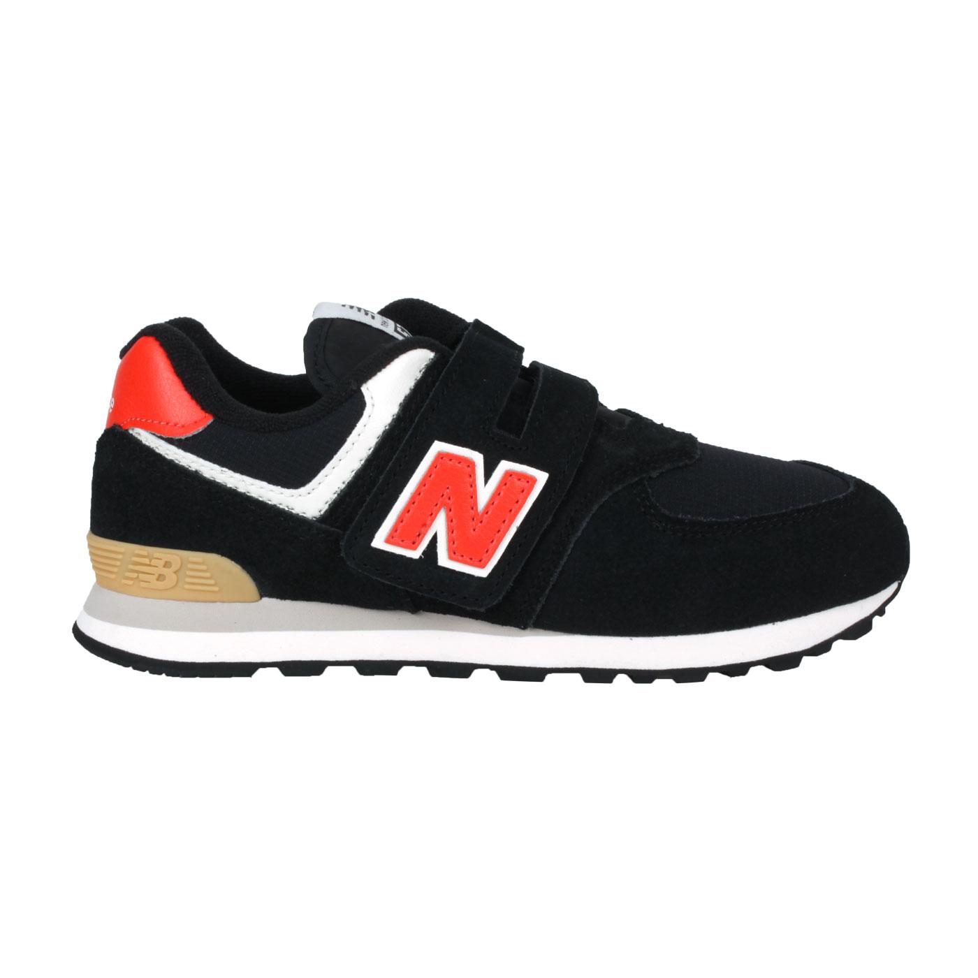 NEW BALANCE 中童休閒運動鞋-WIDE PV574ML2 - 黑橘白