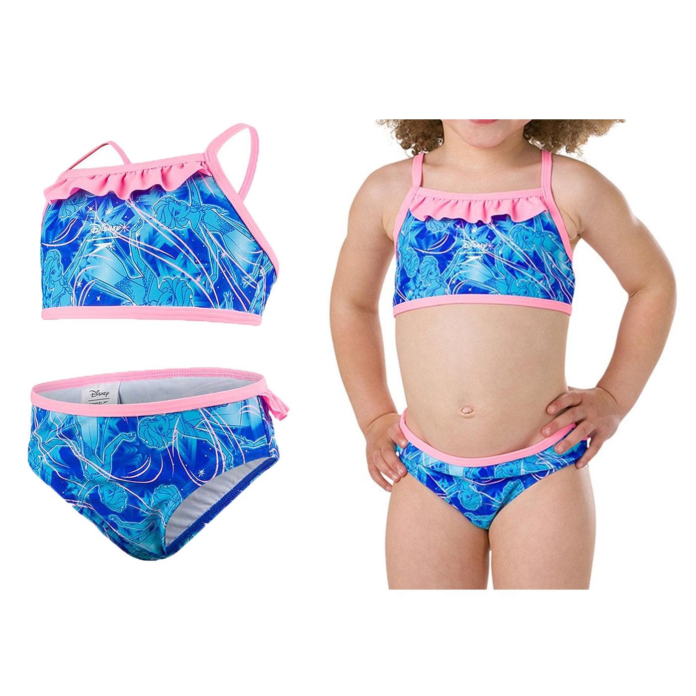 SPEEDO 女童休閒兩截式泳裝-冰雪奇緣 SD807971C783 - 粉紅藍