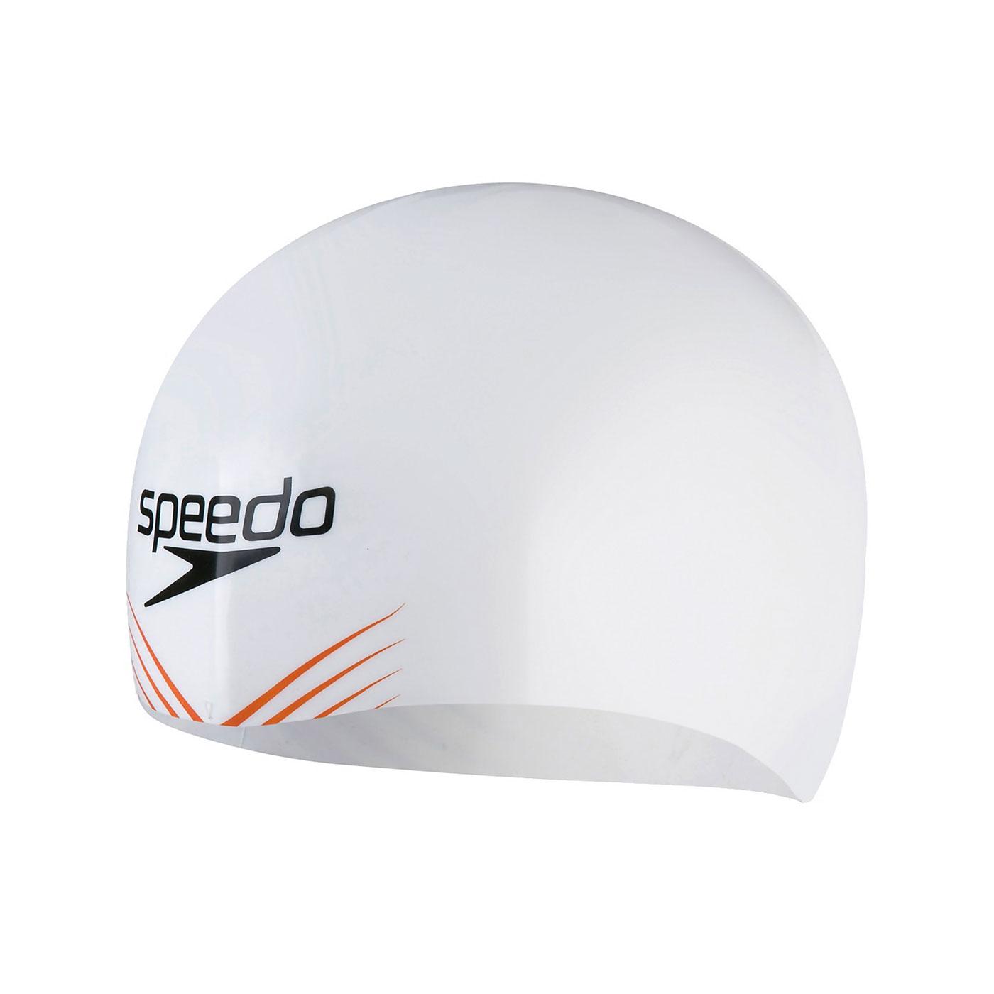 SPEEDO 成人競技矽膠泳帽 SD808216F931 - 橘白黑