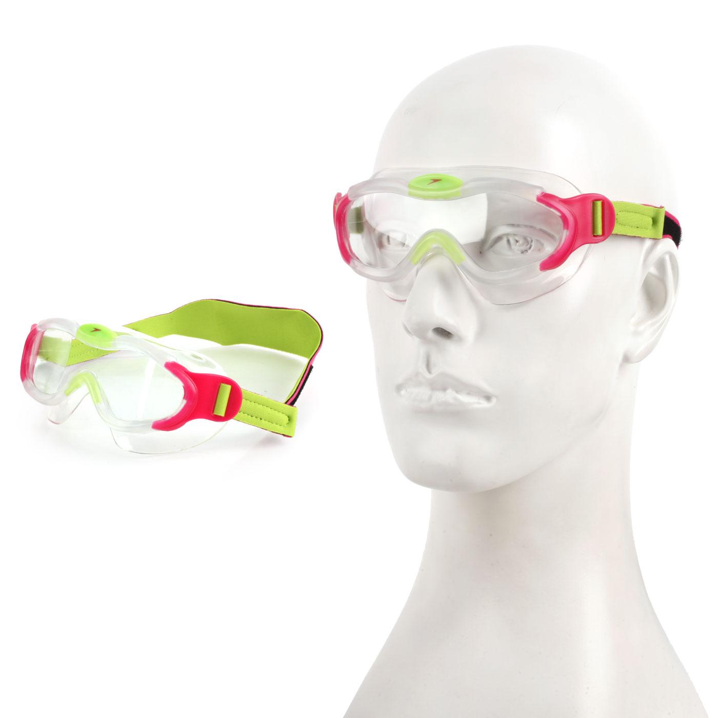 SPEEDO 幼童進階面罩泳鏡 SD8087638028N - 桃紅螢光綠