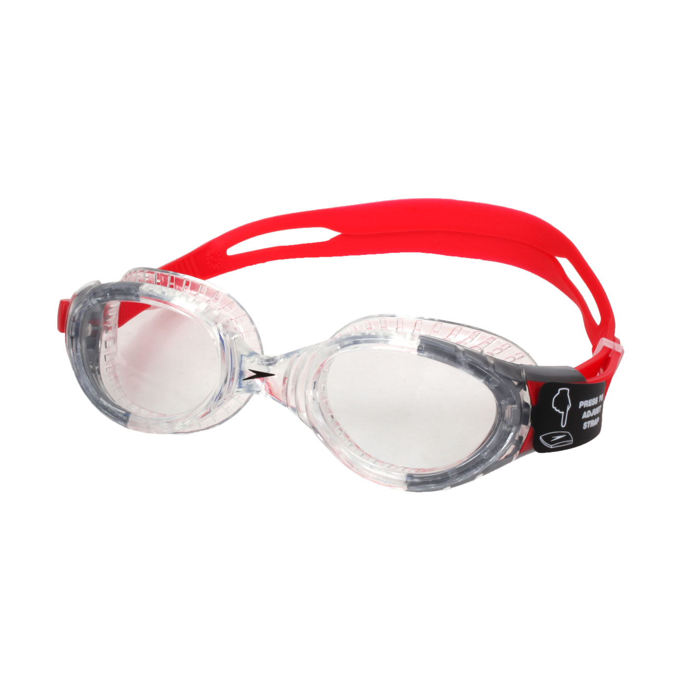 SPEEDO 成人運動泳鏡 Futura Biofuse SD811313B991N - 透明紅黑