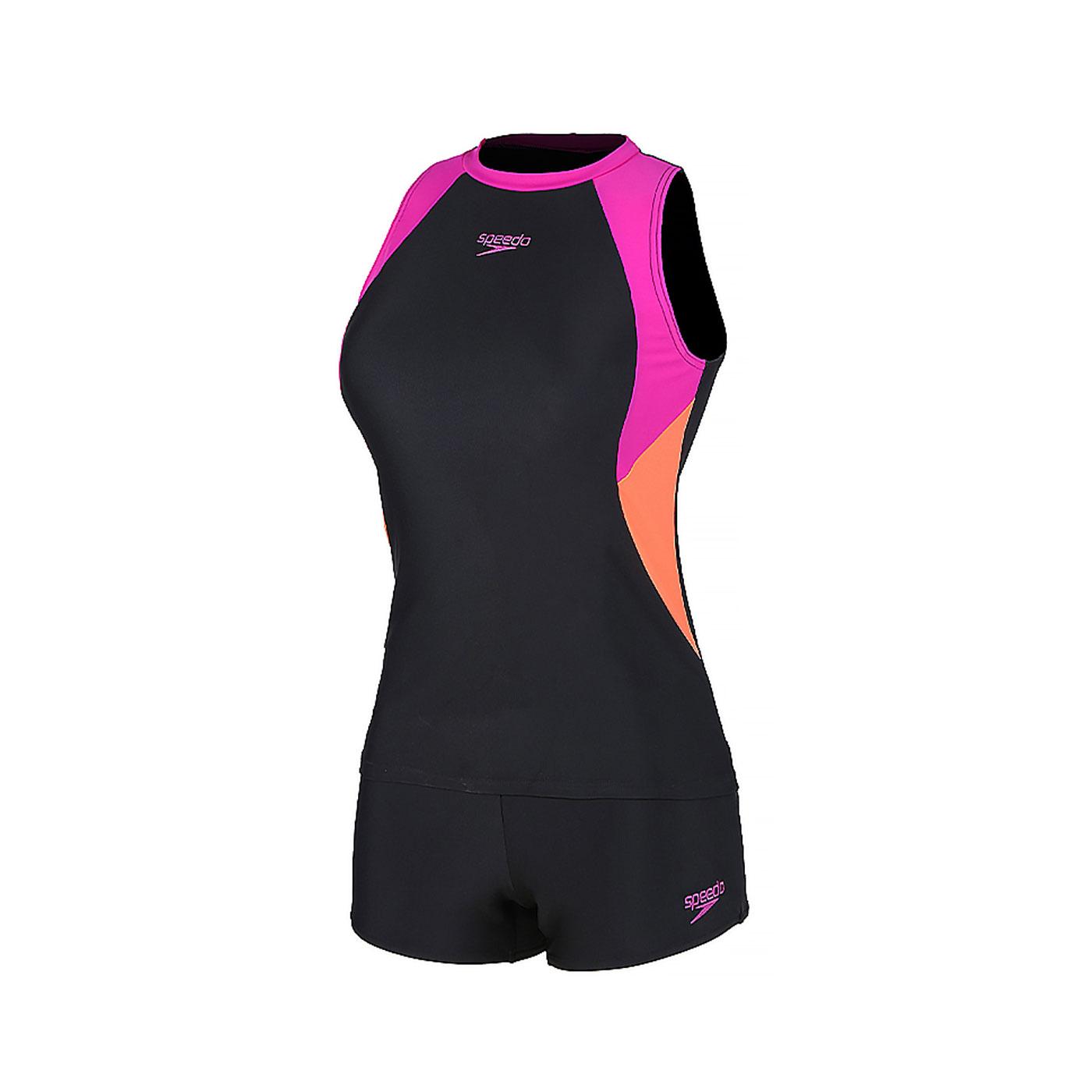 SPEEDO 女款運動兩截式泳裝 SD812945G077 - 黑橘紫