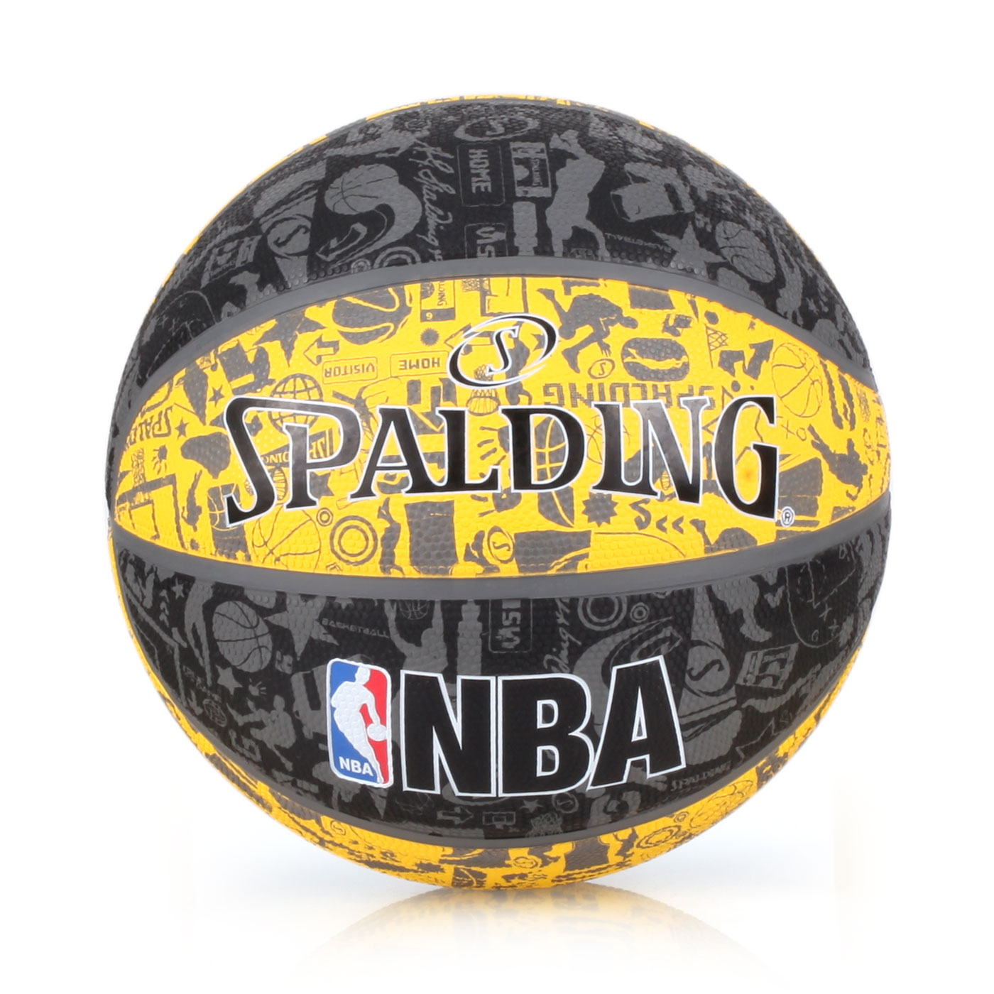 SPALDING NBA塗鴉系列 7號籃球 SPA83307 - 黑黃灰