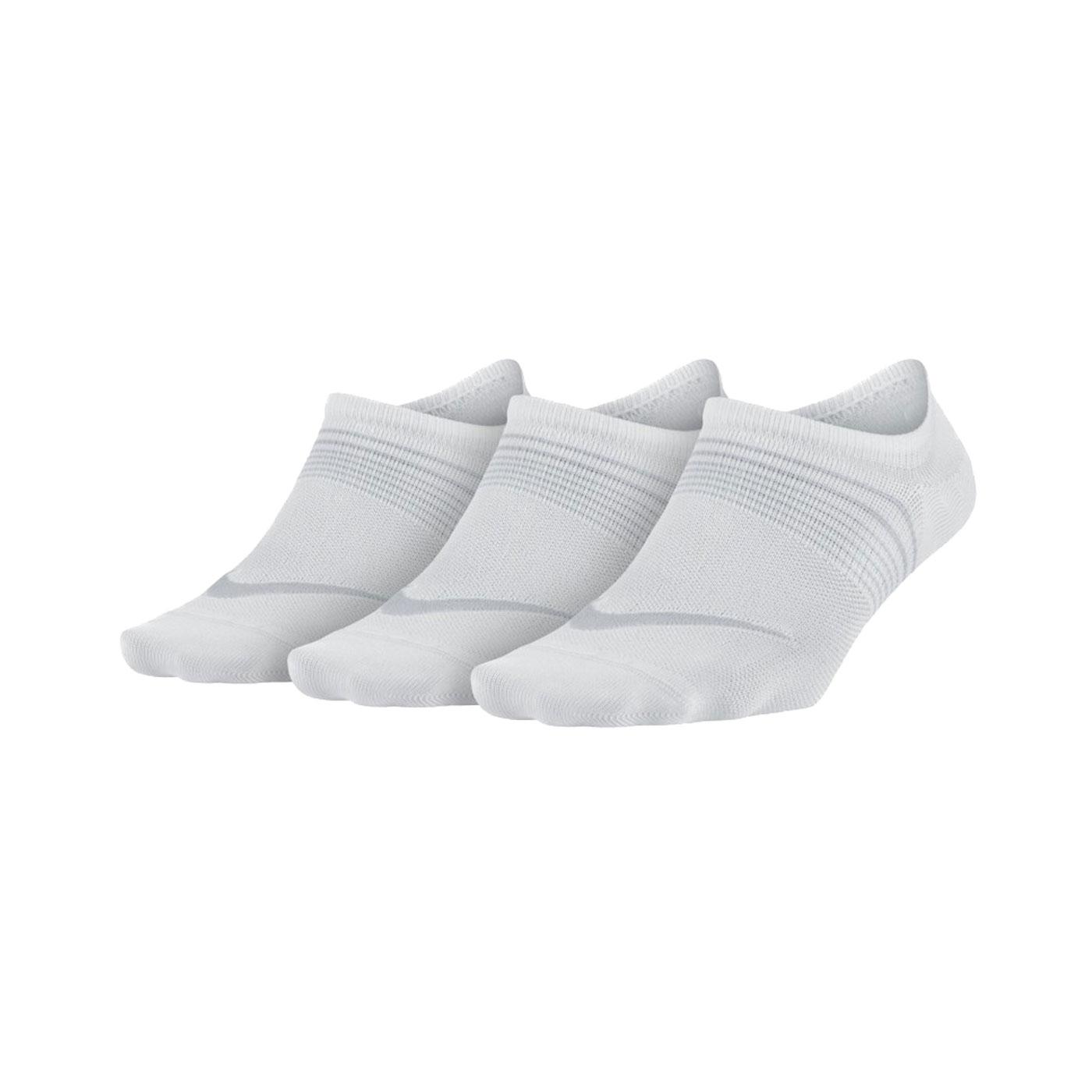 NIKE 三包女子輕質訓練襪 SX5277-100 - 白灰