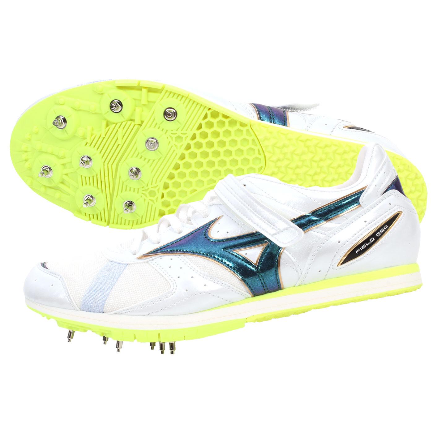 MIZUNO 日製田徑釘鞋 U1GA154136 - 螢光黃白