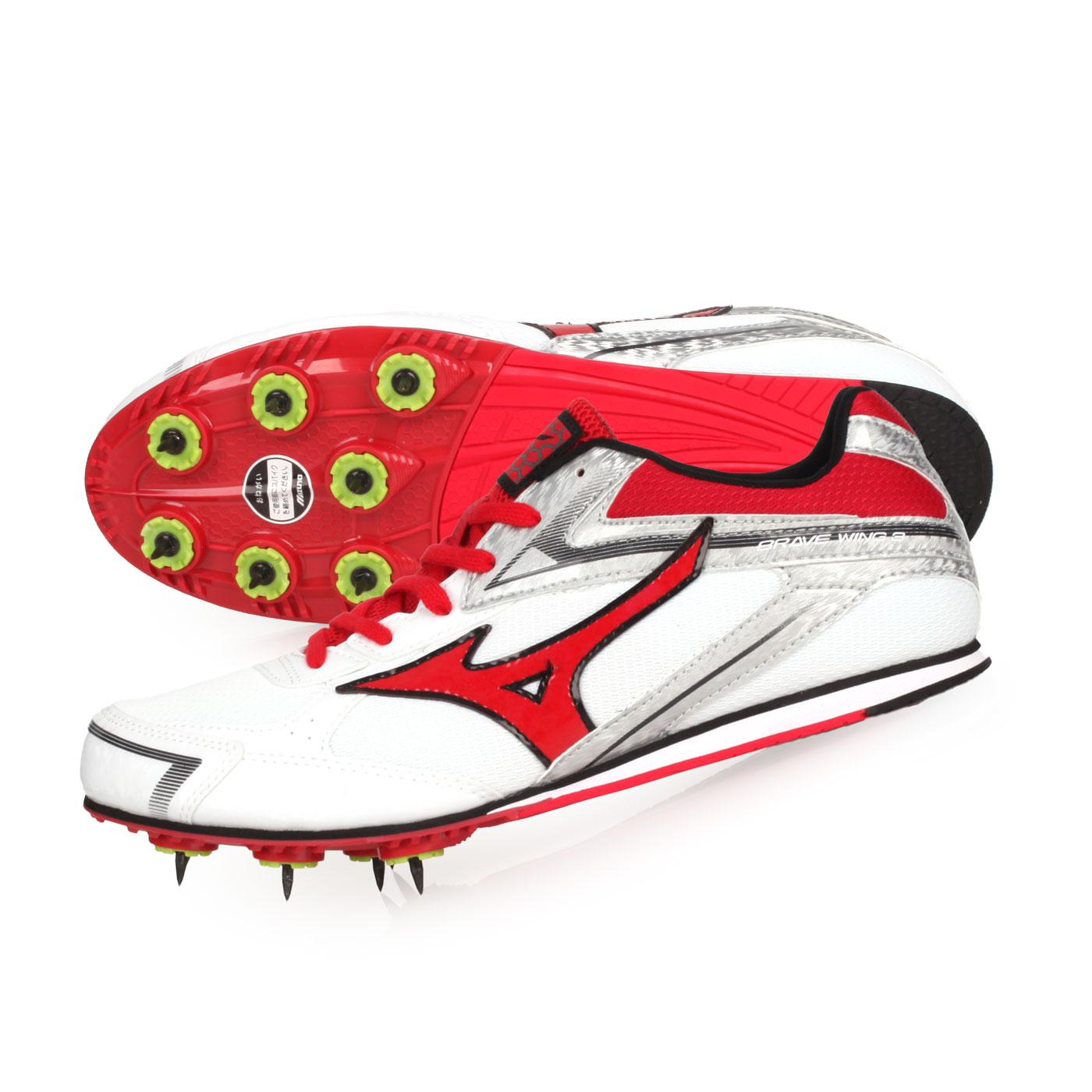MIZUNO 田徑釘鞋(中長距離)  @BRAVE WING 3@U1GA183005 - 白紅