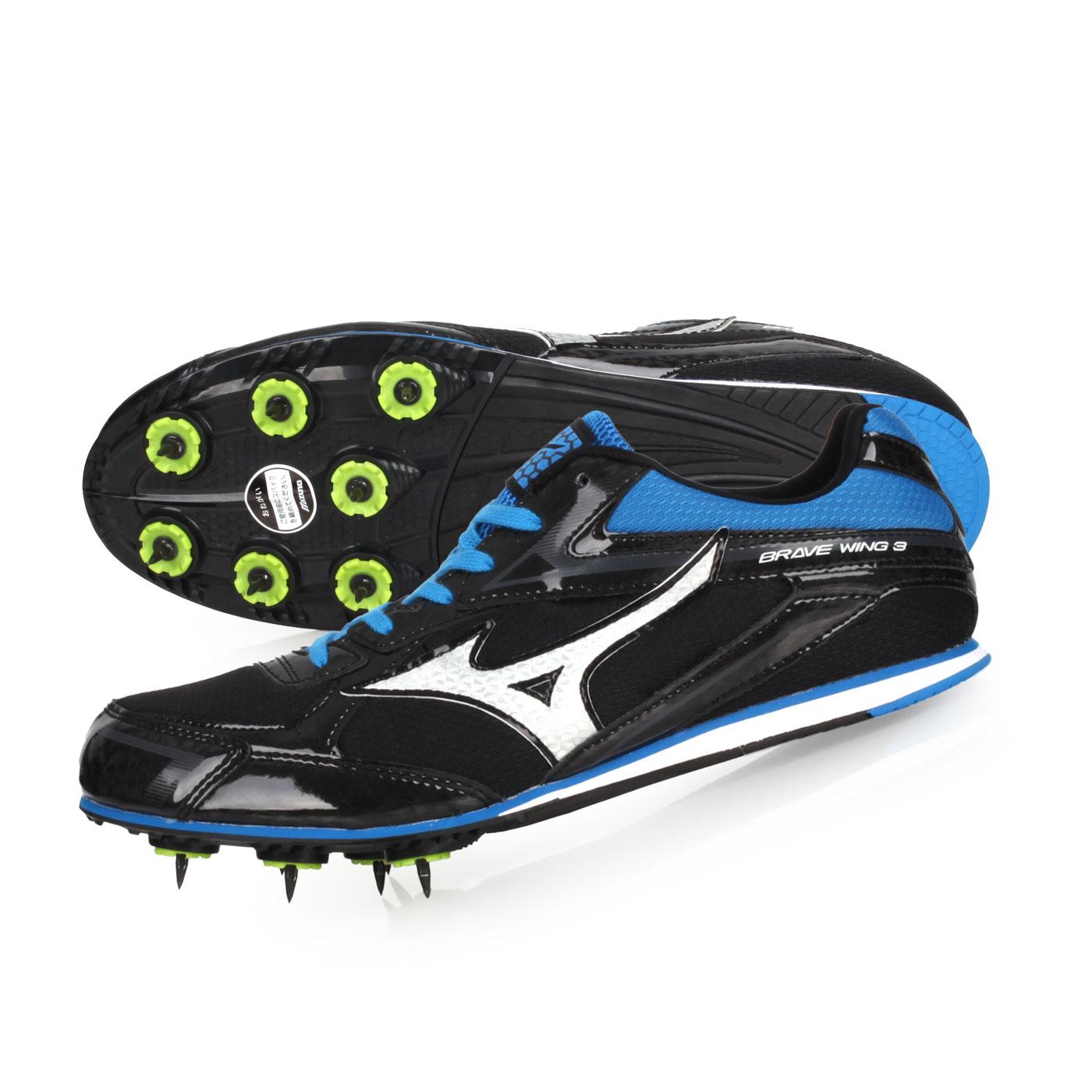 MIZUNO 田徑釘鞋-WIDE  @BRAVEWING 3@U1GA183127 - 黑藍銀