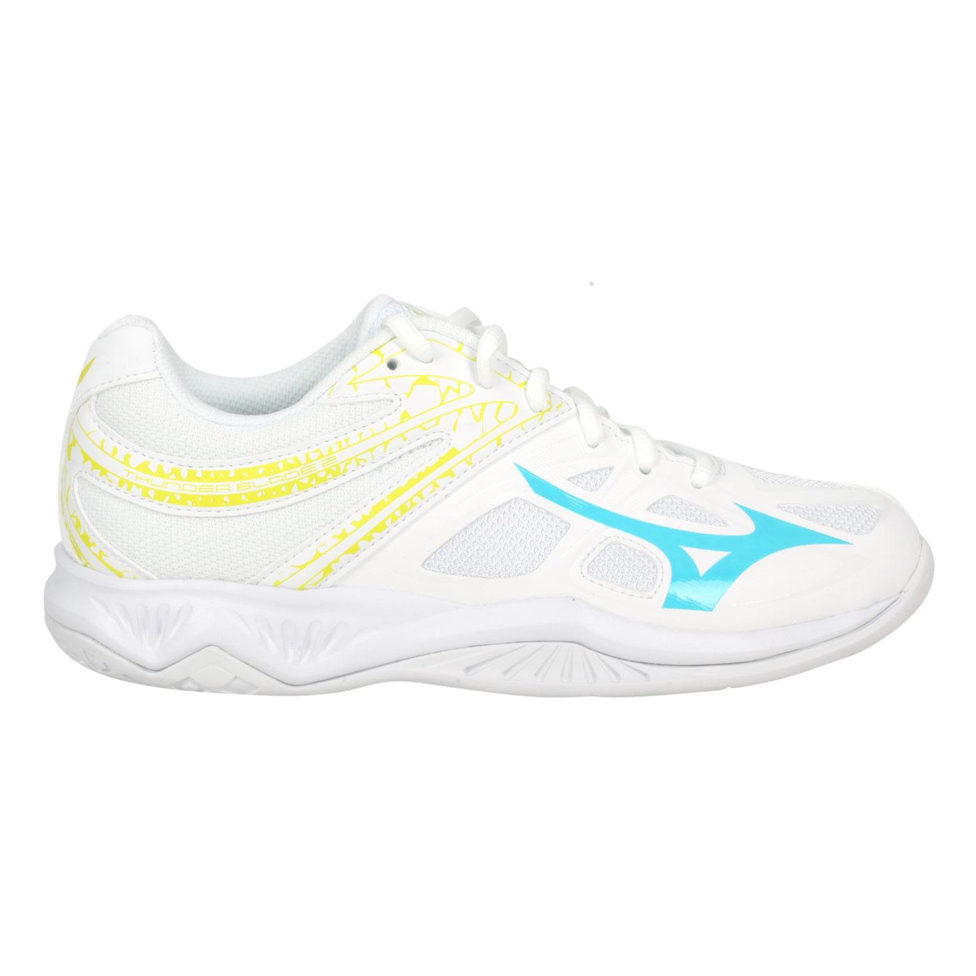 MIZUNO 女款排球鞋  @THUNDER BLADE 2@V1GA197022 - 白黃藍