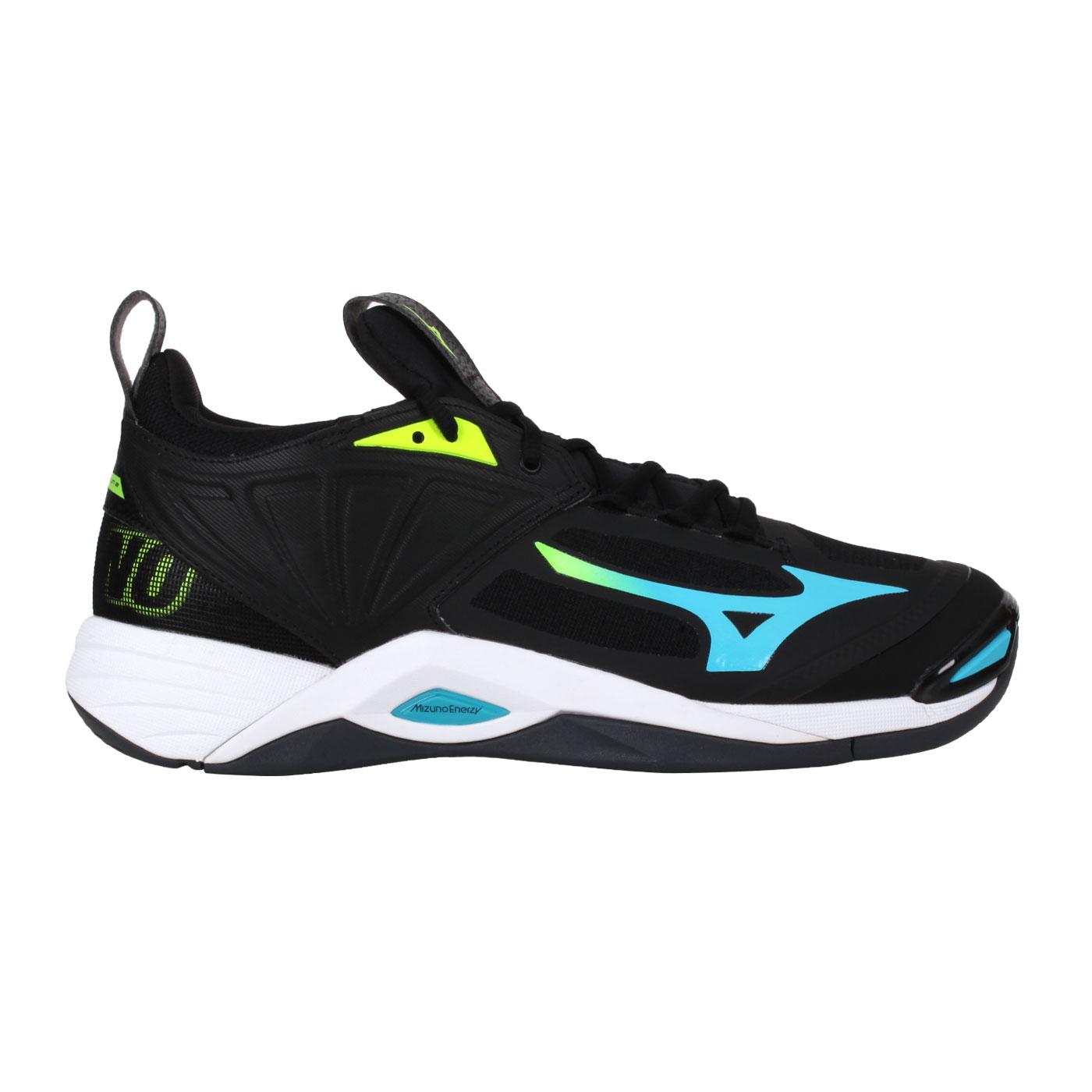 MIZUNO 男款排球鞋  @WAVE MOMENTUM 2@V1GA211223 - 黑黃藍