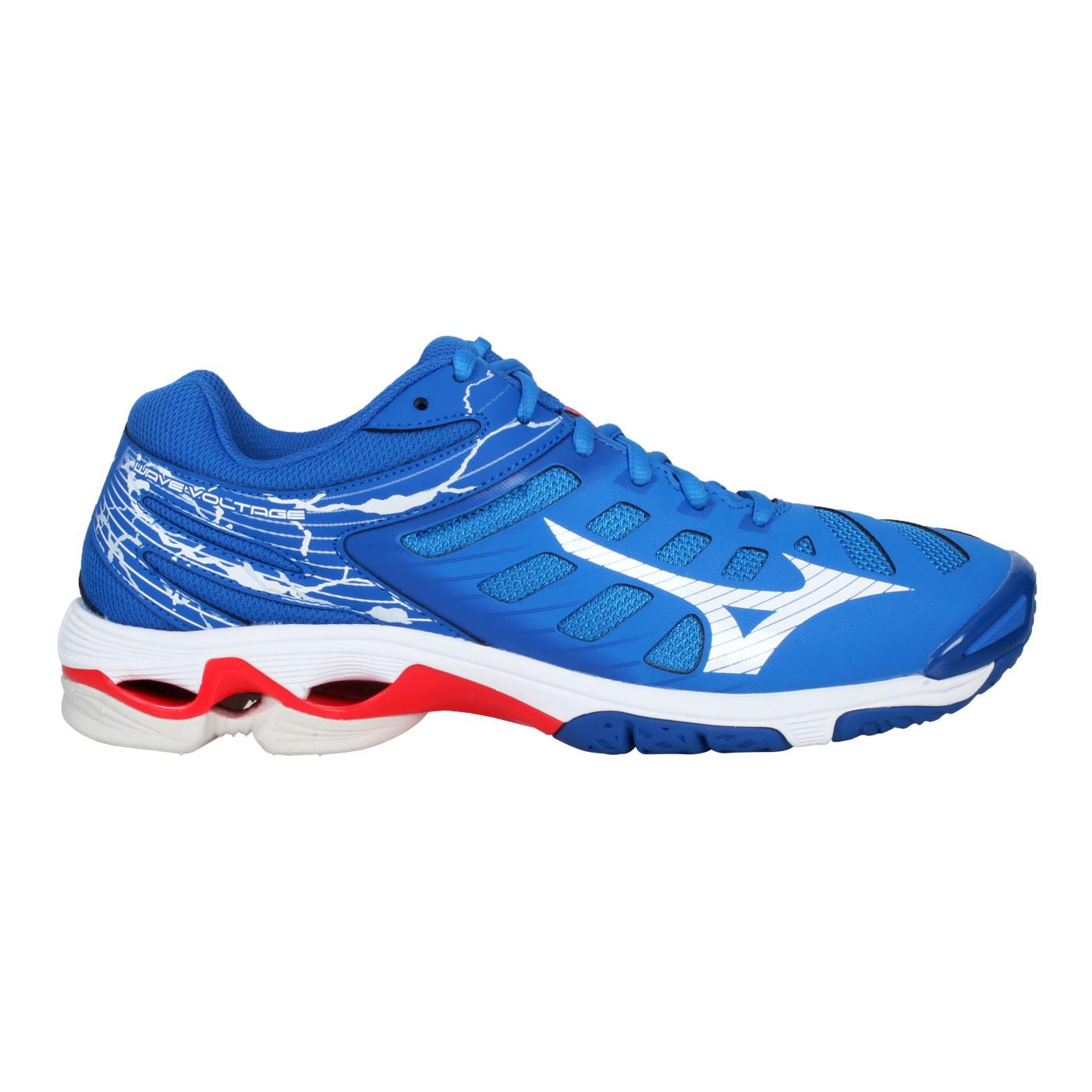 MIZUNO 男款排球鞋  @WAVE VOLTAGE@V1GA216024 - 藍白紅