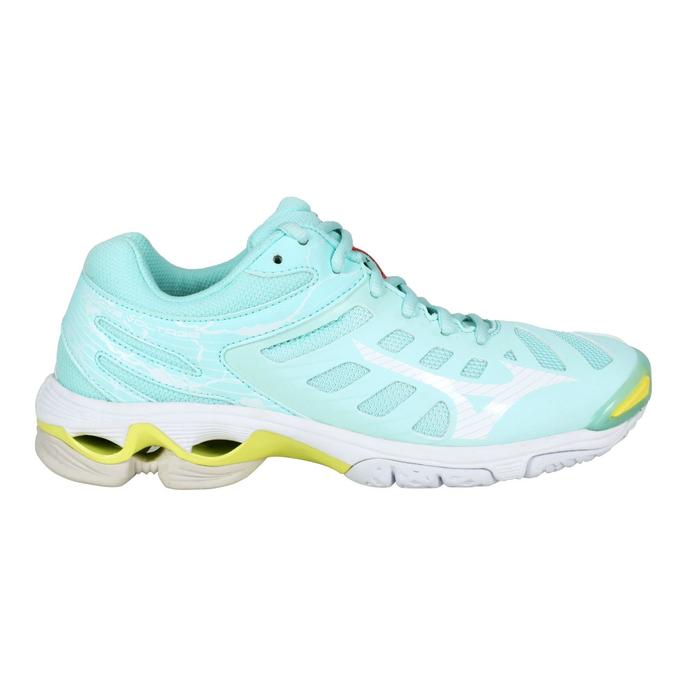 MIZUNO 女款排球鞋  @WAVE VOLTAGE@V1GC216026 - 淺藍白黃