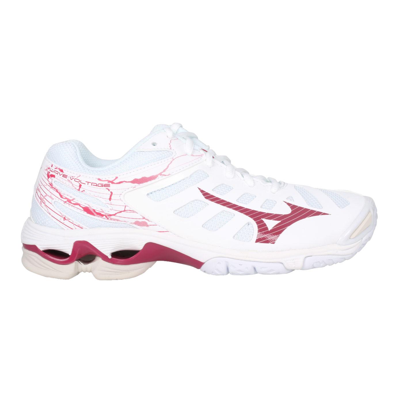 MIZUNO 女款排球鞋  @WAVE VOLTAGE@V1GC216065 - 白紅