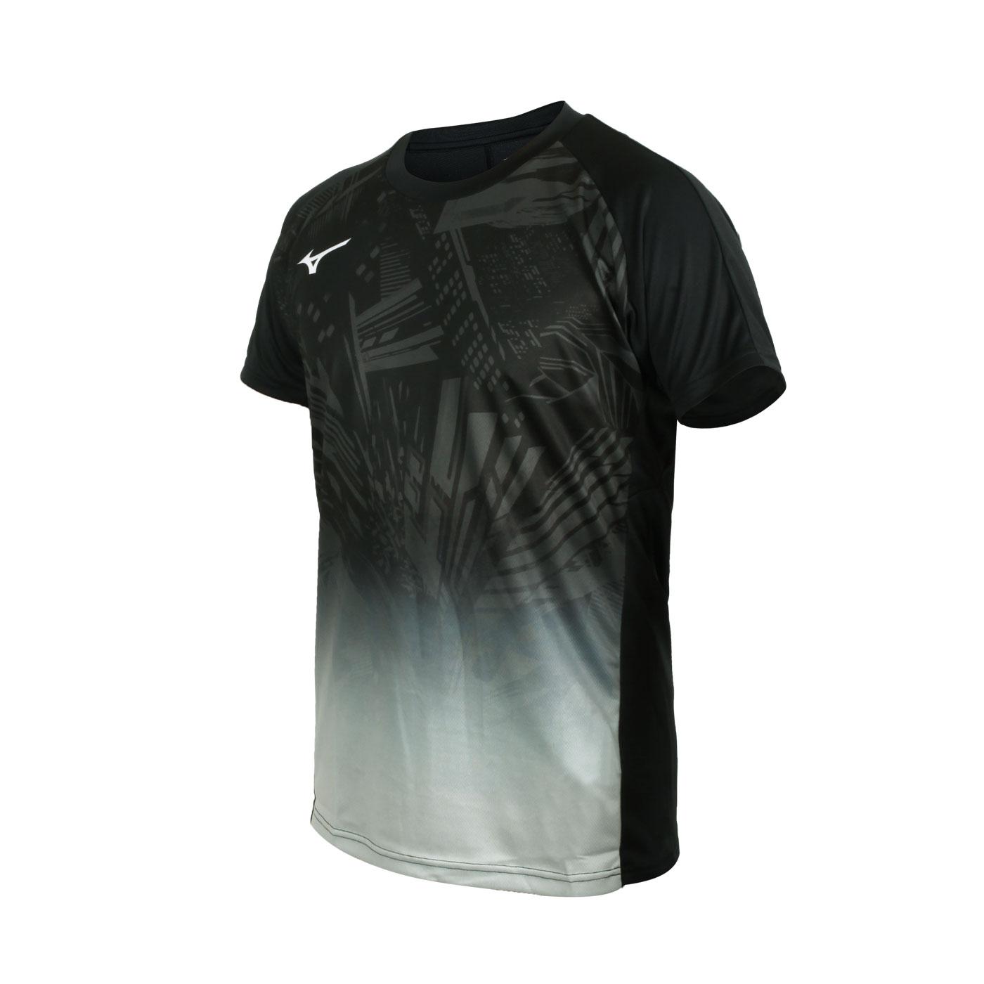 MIZUNO 男款世界大賽短袖T恤 V2MA058709 - 黑綠白