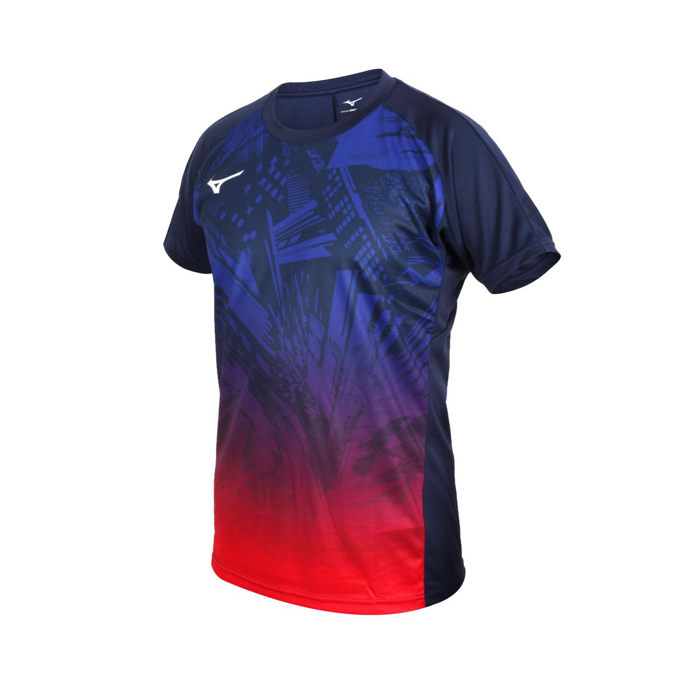 MIZUNO 男款世界大賽短袖T恤 V2MA058714 - 丈青藍紅紫