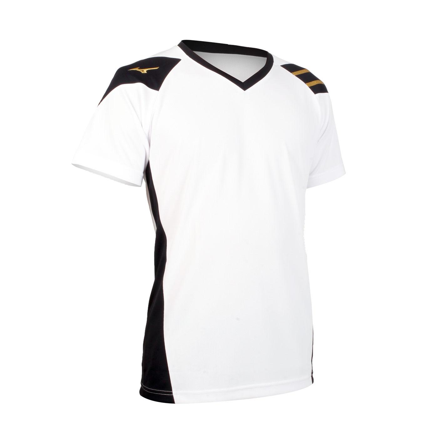 MIZUNO 排球短袖T恤 V2TA0G1601 - 白黑
