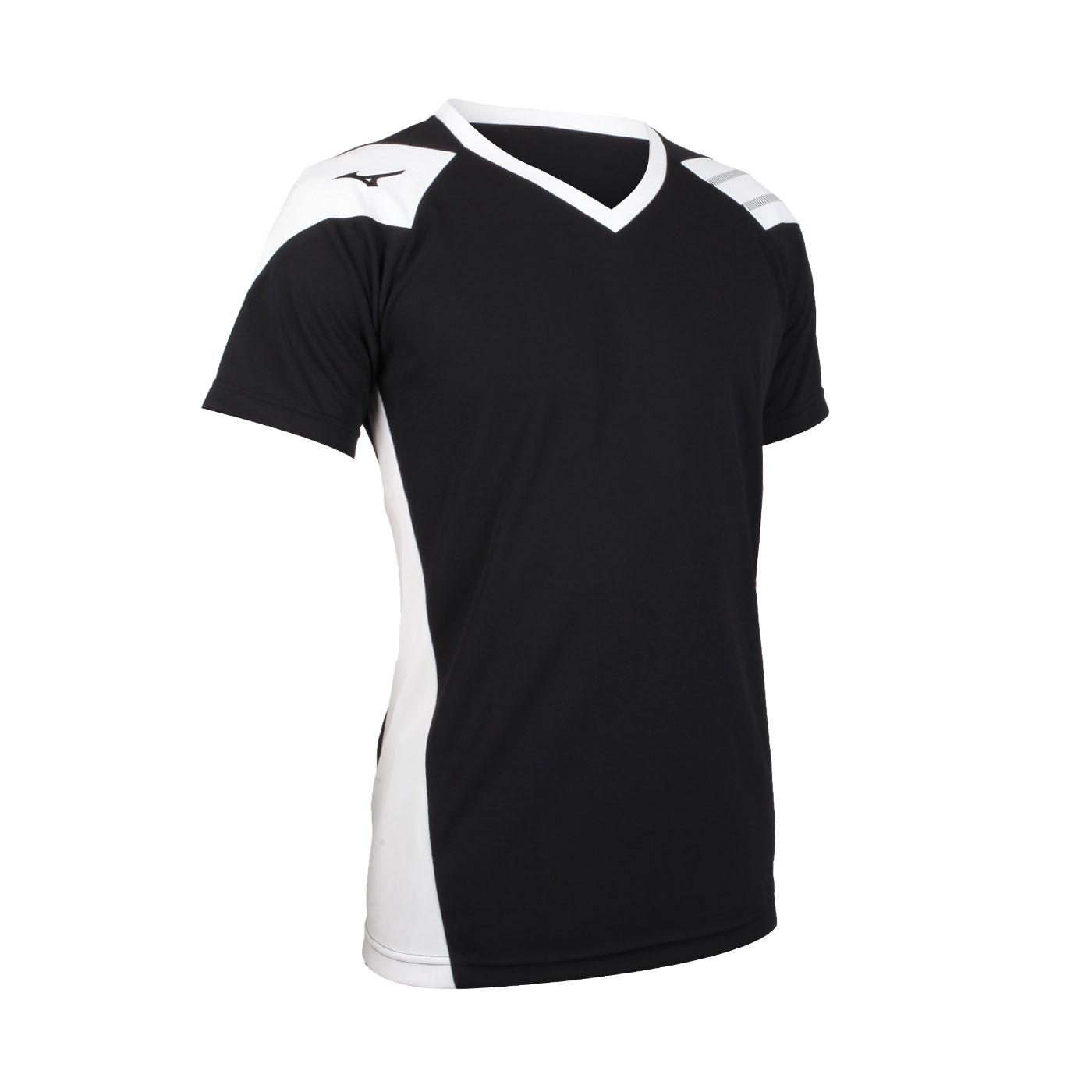 MIZUNO 排球短袖T恤 V2TA0G1601 - 黑白