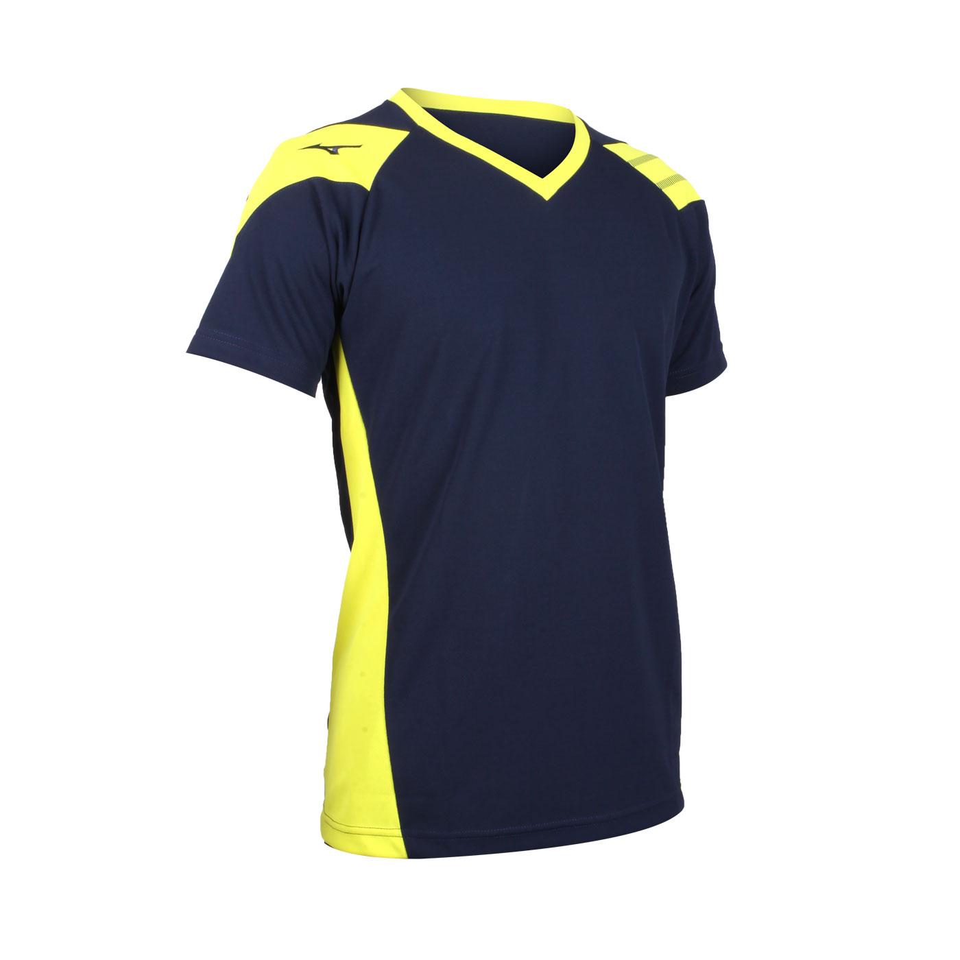 MIZUNO 排球短袖T恤 V2TA0G1601 - 丈青芥末黃