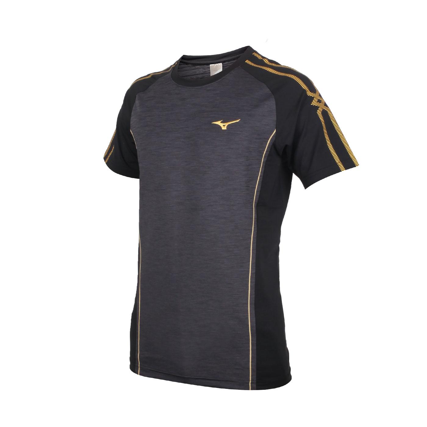 MIZUNO 男款排球短袖T恤 V2TA0G1999 - 深灰黑金