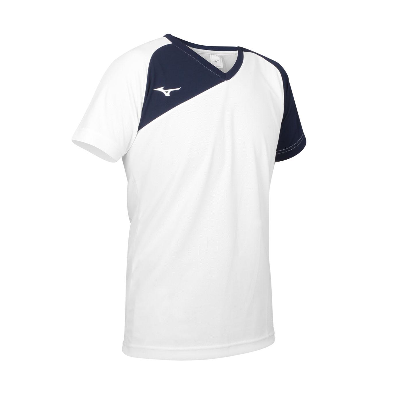 MIZUNO 男款排球T恤 V2TA1G1601 - 白丈青