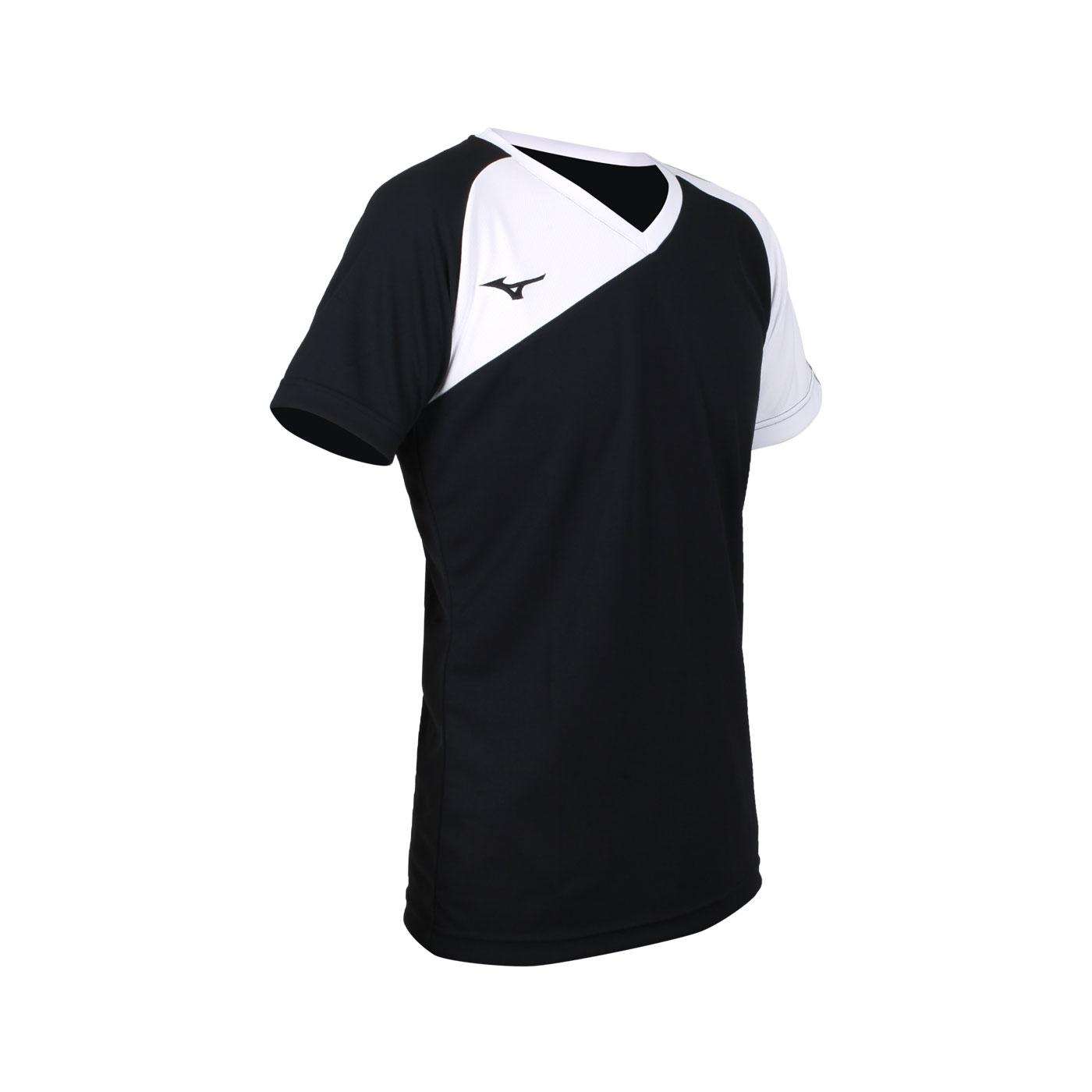 MIZUNO 男款排球短袖T恤 V2TA1G1690 - 黑白