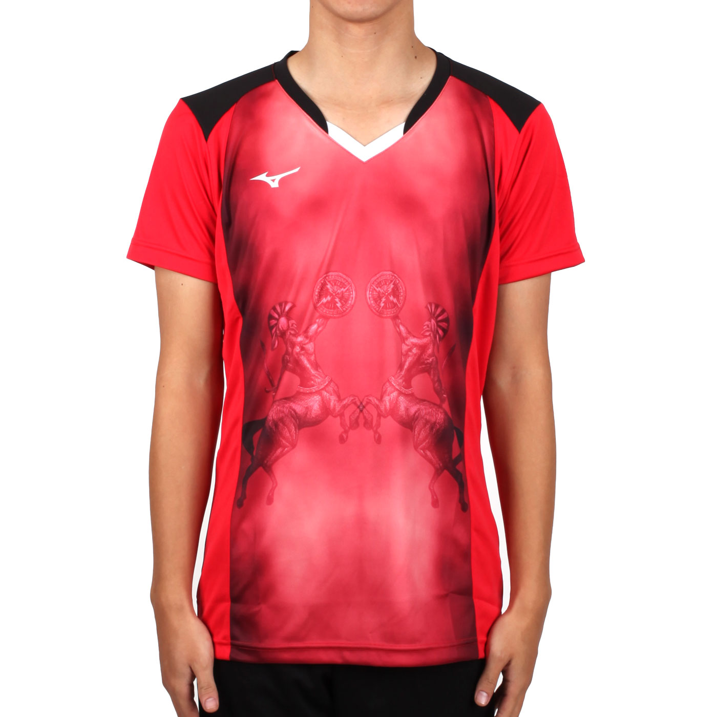 MIZUNO 男排球短袖上衣(2017企業排球聯賽) V2TA7A3081D - 紅黑