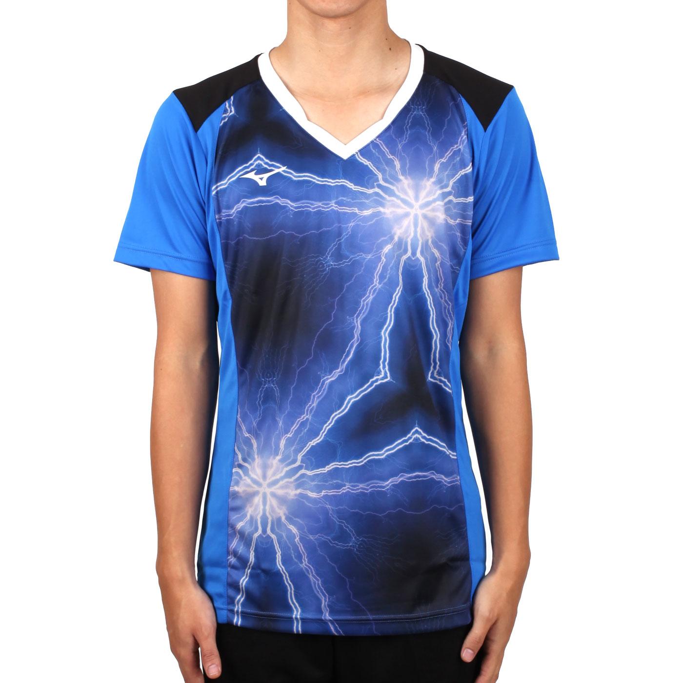 MIZUNO 男排球短袖上衣(2017企業排球聯賽) V2TA7A3081D - 藍黑