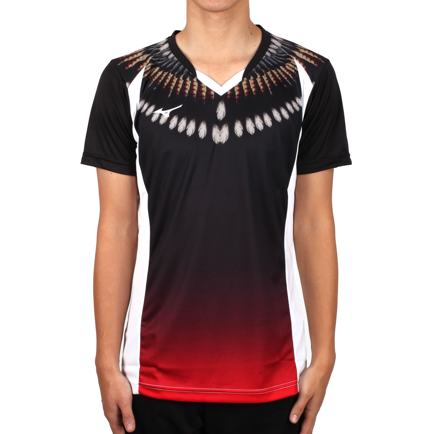 MIZUNO 男排球短袖上衣(2017企業排球聯賽) V2TA7A3081D - 黑紅