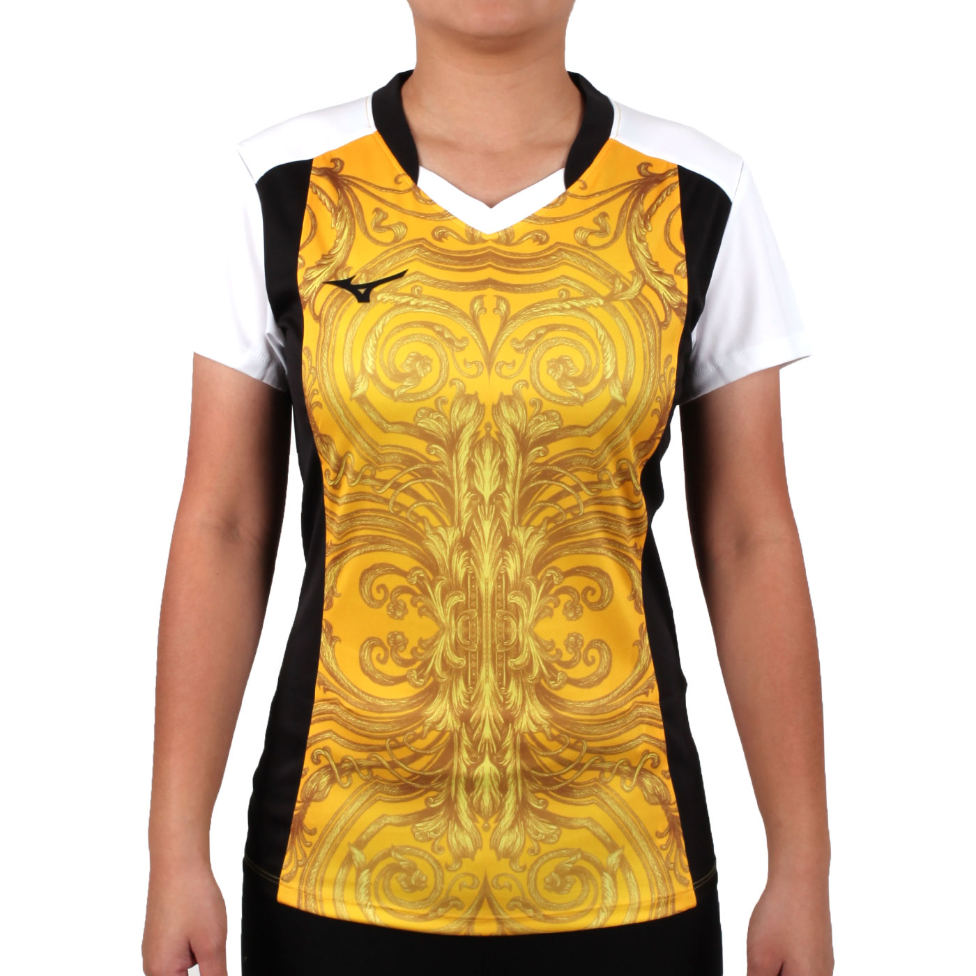 MIZUNO 女排球短袖上衣(2017企業排球聯賽) V2TA7C2843D - 黃黑