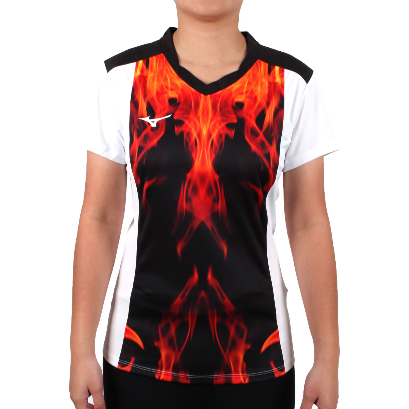 MIZUNO 女排球短袖上衣(2017企業排球聯賽) V2TA7C2843D - 紅黑