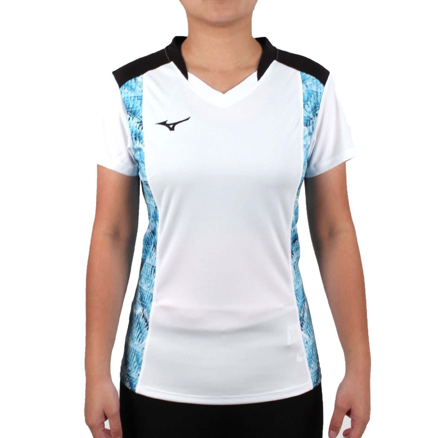 MIZUNO 女排球短袖上衣(2017企業排球聯賽) V2TA7C2901D - 白黑藍