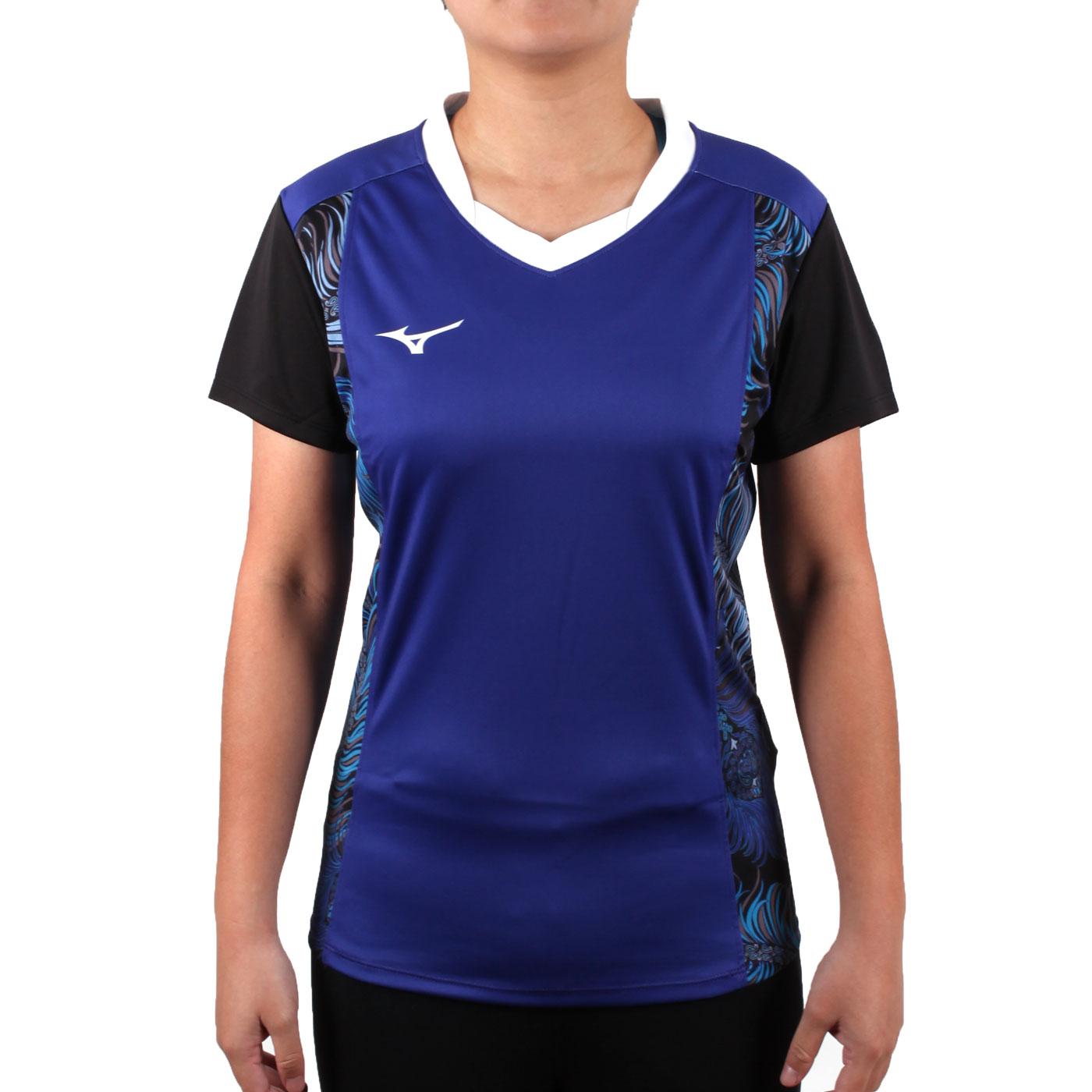 MIZUNO 女排球短袖上衣(2017企業排球聯賽) V2TA7C2901D - 藍白黑