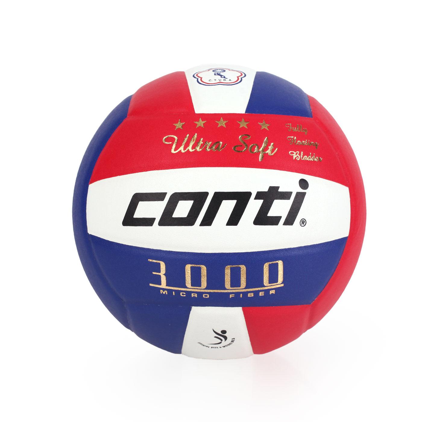 詠冠conti 5號頂級超細纖維貼布排球 CONTIV3000-5-RWB - 藍紅白