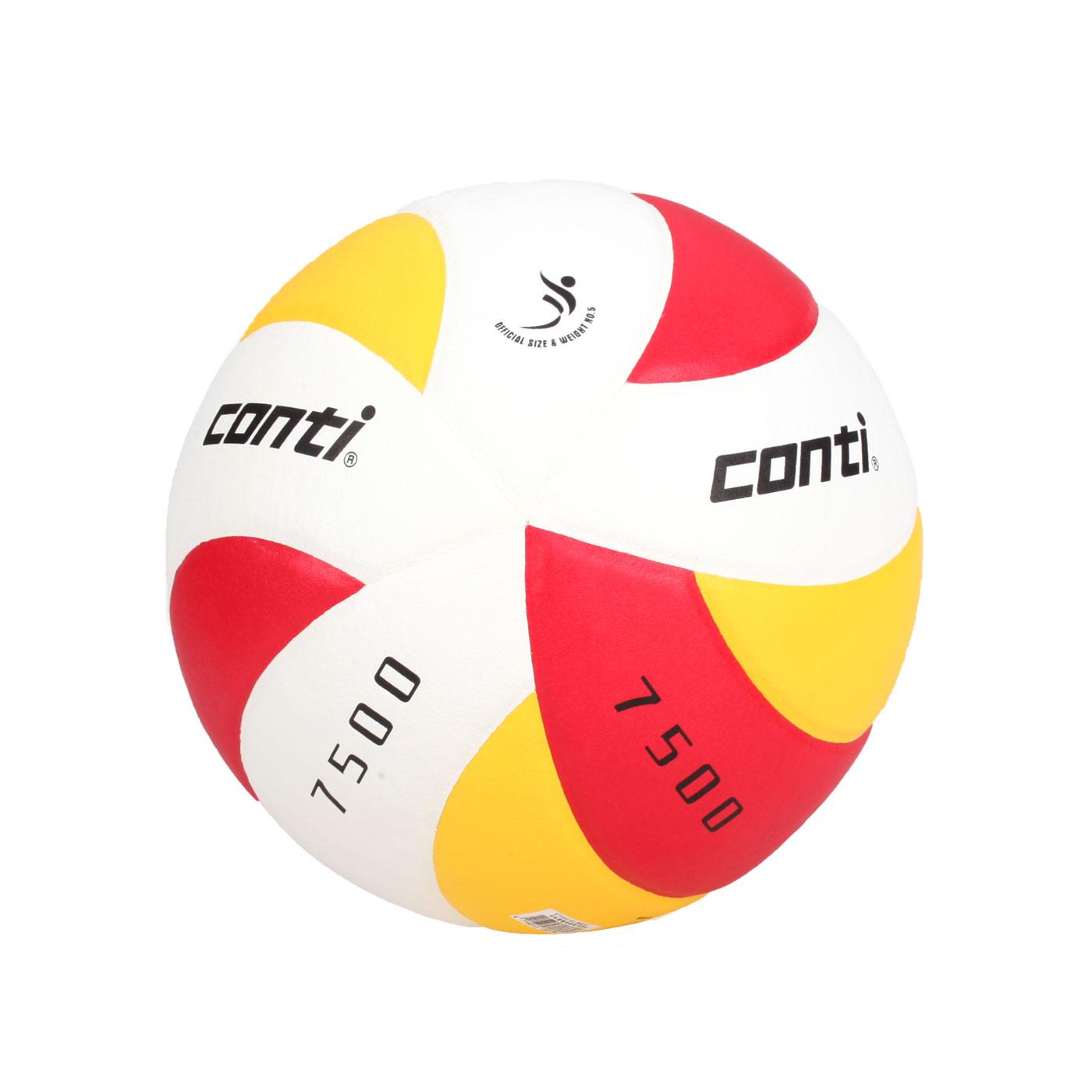 詠冠conti 5號日本頂級超級細纖纖維貼布排球 CONTIV7500-5-RWB - 紅黃白