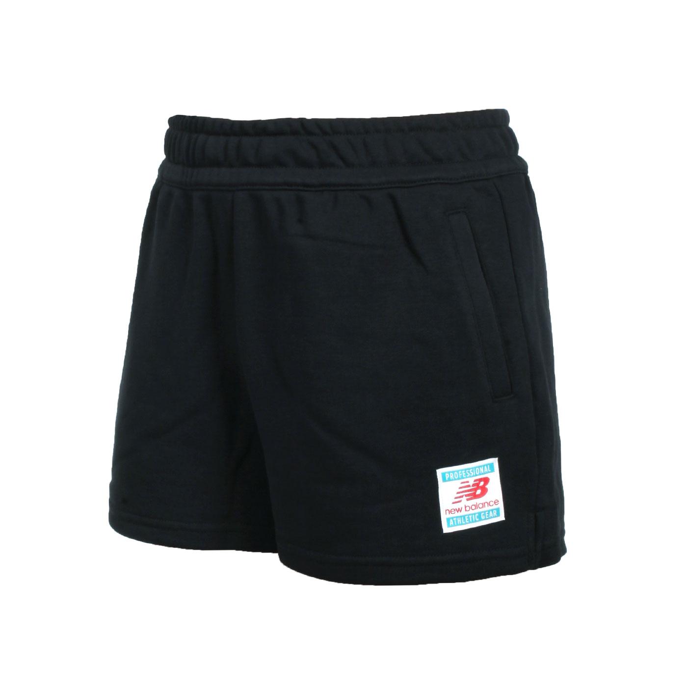 NEW BALANCE 女款左腿標籤棉短褲 WS11504BK - 黑白紅藍