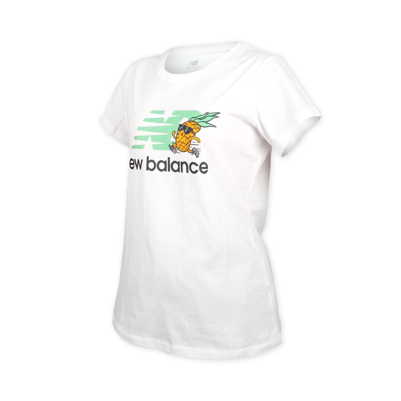 NEW BALANCE 女款短袖T恤 WT01558WT - 白果綠黑橘