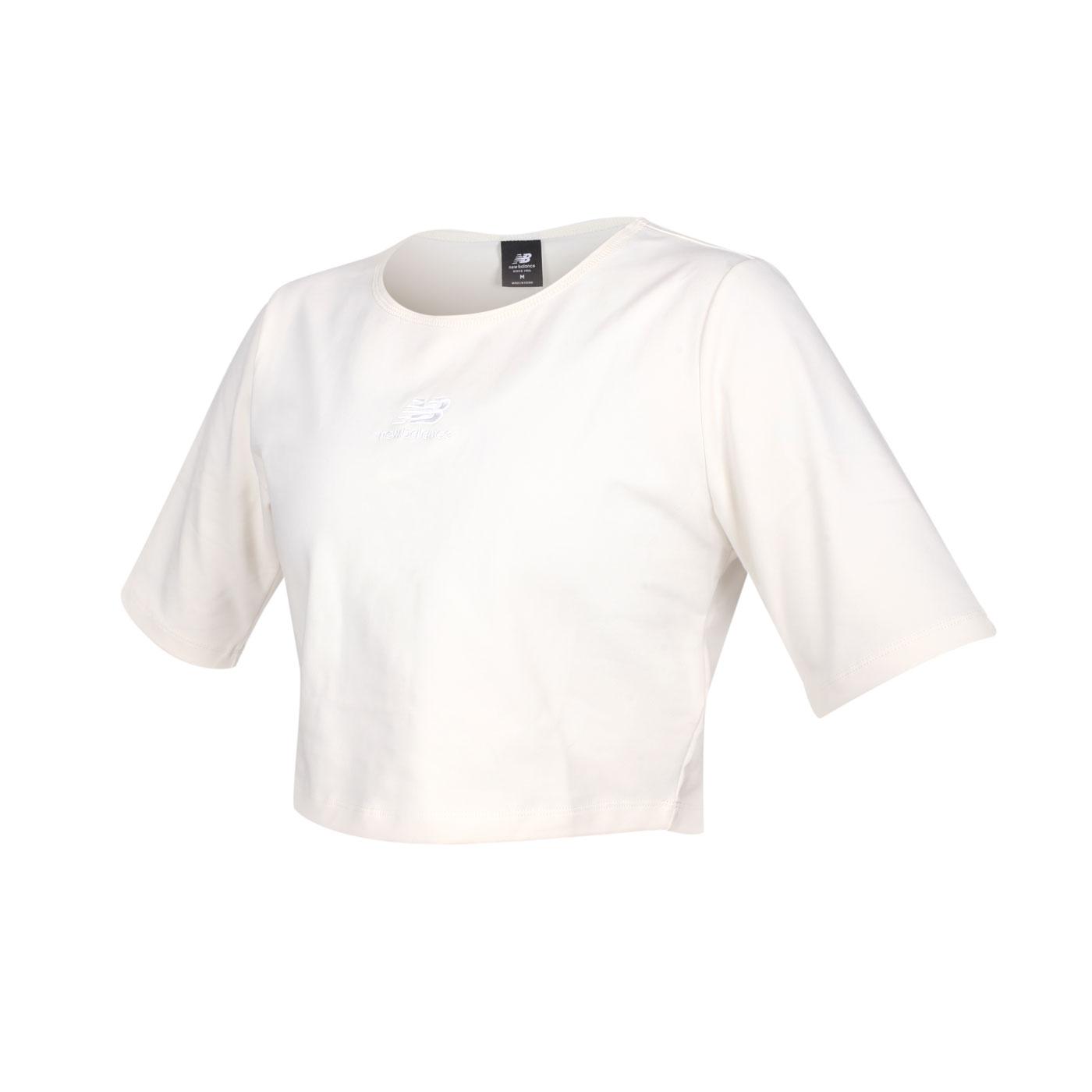 NEW BALANCE 女款短版短袖T恤 WT13555AGA - 米白